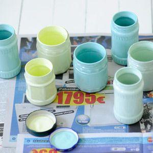Colorer du verre avec de la peinture lego et pots - Peindre un pot en plastique ...