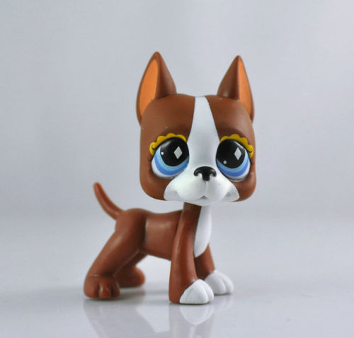 5 99 588 Lps Littlest Pet Shop Brown And White Great Dane Puppy