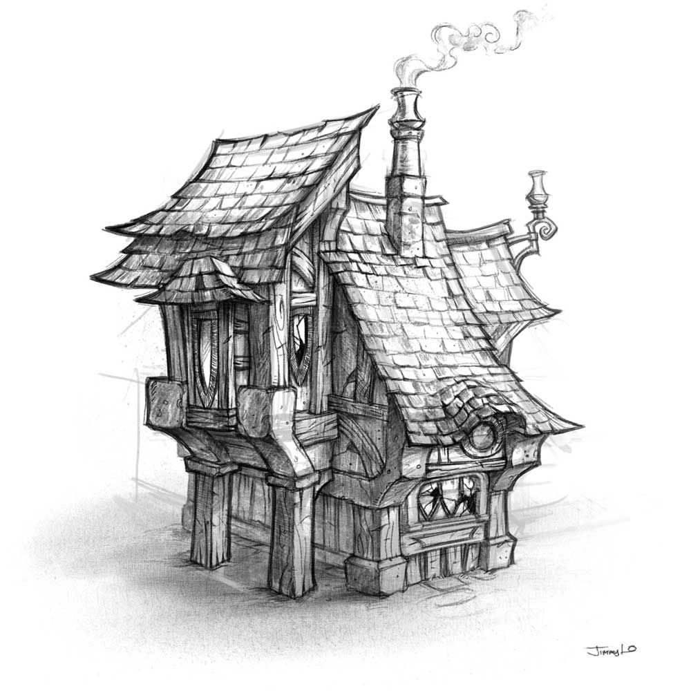 World of warcraft cataclysm art pictures house sketch for Small house design drawing