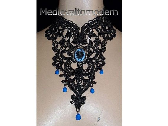 Black & Blue Venise Lace Flower Cameo Choker by Medievaltomodern