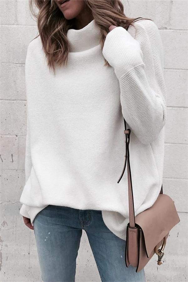 Simple Soft Mock Neck White Sweater