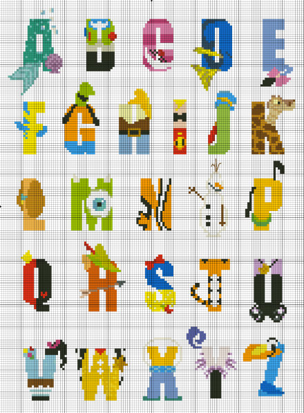 Disney Character Alphabet Counted Cross Stitch By
