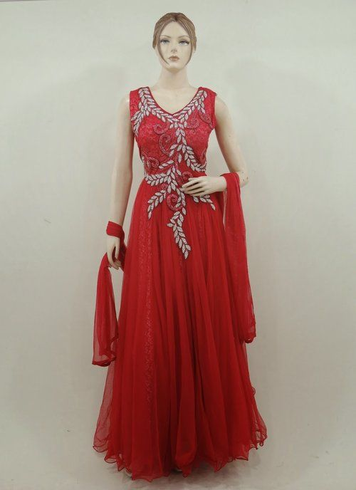5f7e5bbb966b Indo Western Exclusive Designer Net Dress in Red Color | Designer ...