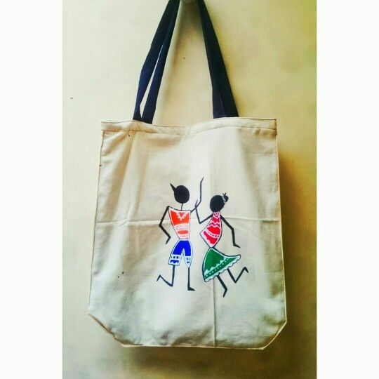 f14a4433d4 Tote bag with warli painting. Super easy to make and makes a statement of  uniqueness.