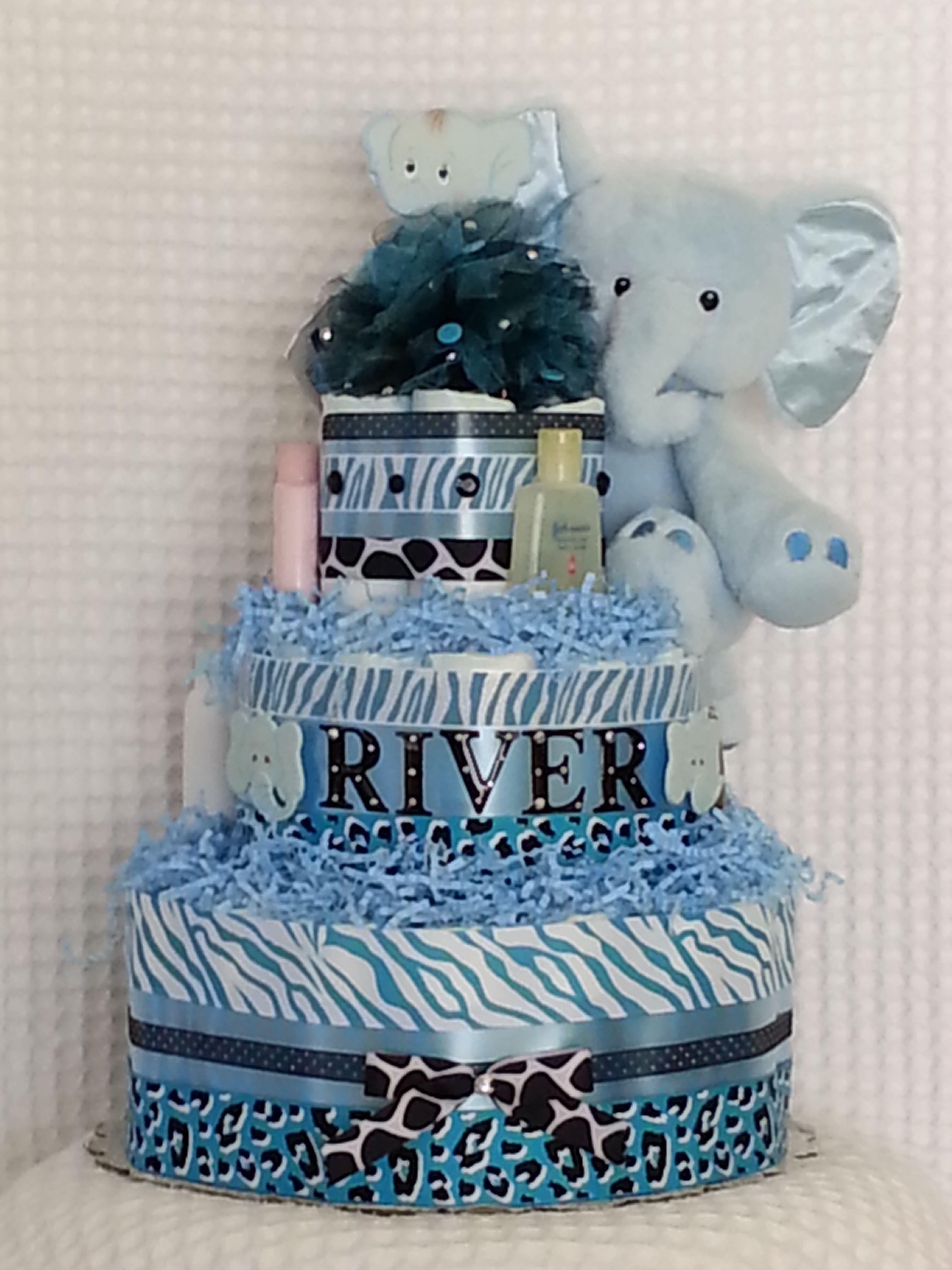 "Sweet Safari ""It's a Boy"" Blue Elephant Diaper Cake! A ..."