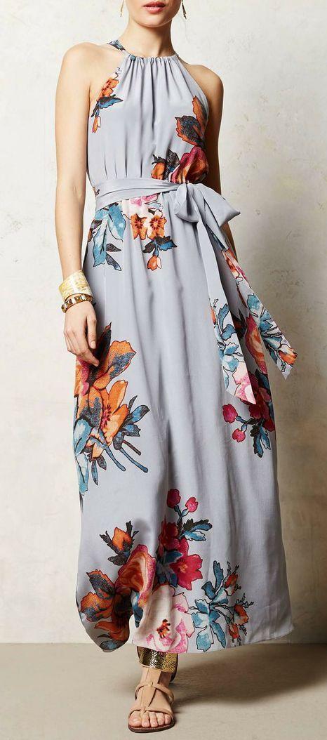 gray & floral maxi dress   spring / Summer fashion   Pinterest ...