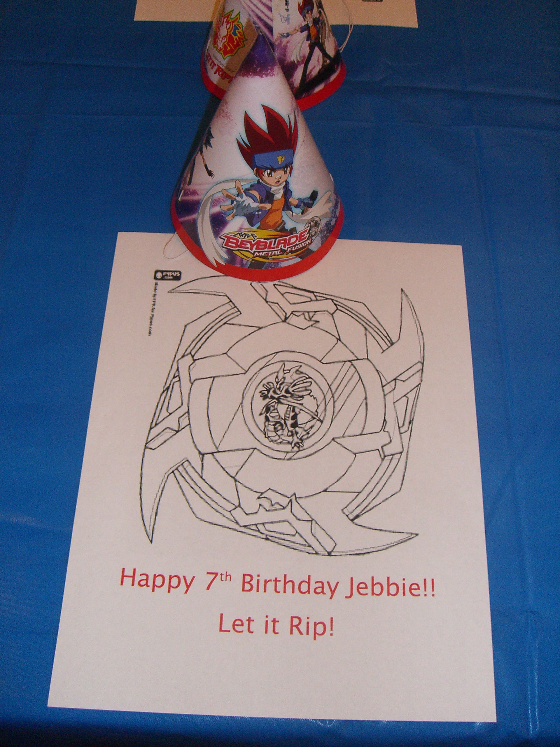 Beyblade party-The children each had a coloring sheet, hat and ...