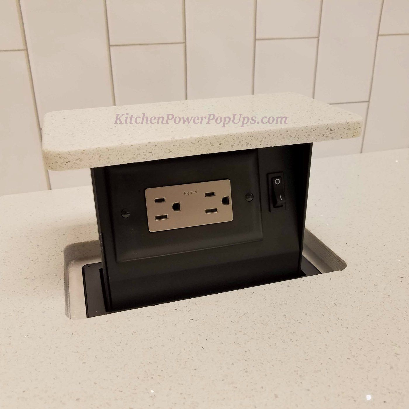 pop up outlets for kitchen sink hole cover countertop hidden 2 power use your stone