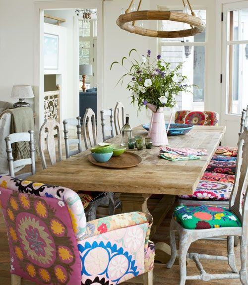 Eclectic Dining Chairs Mismatched Room Colorful Rooms Chair Cushions
