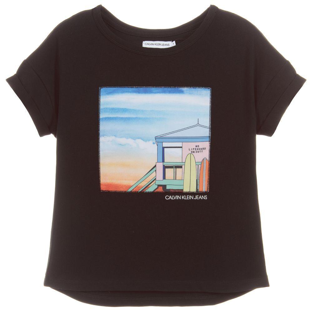 Brand Girls Black Cotton T Shirt At Childrensalon Com Cotton Tshirt Black Cotton T Shirt
