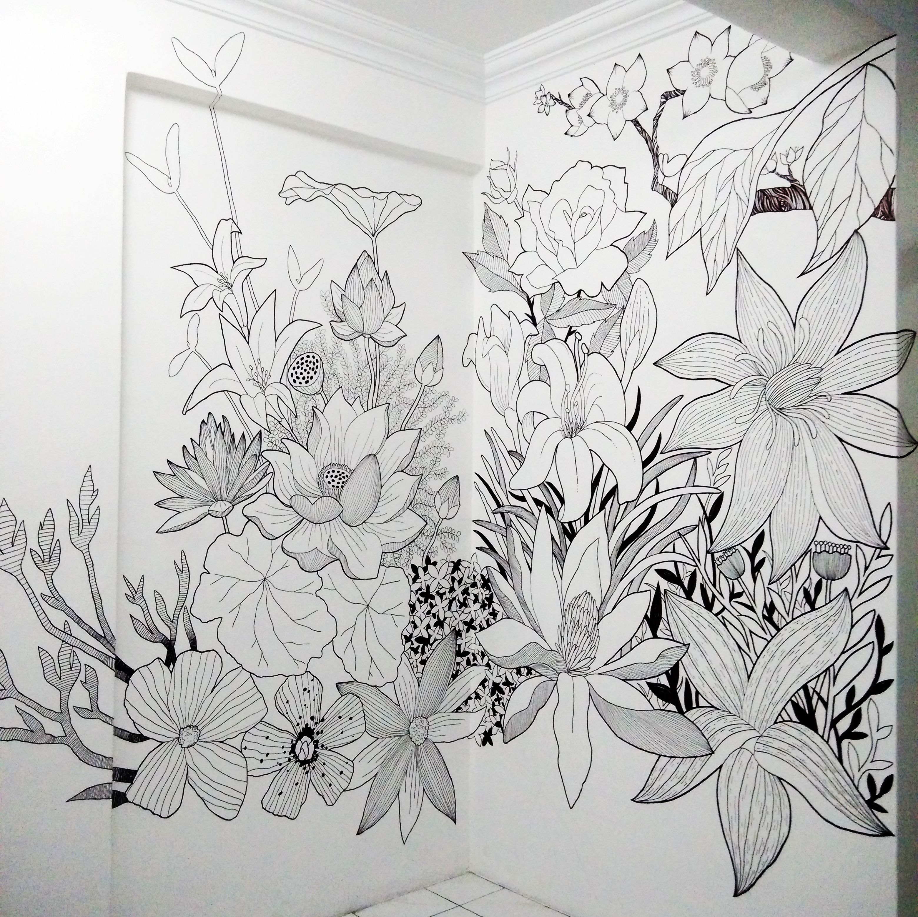 Art Mural Painting Flower Designs