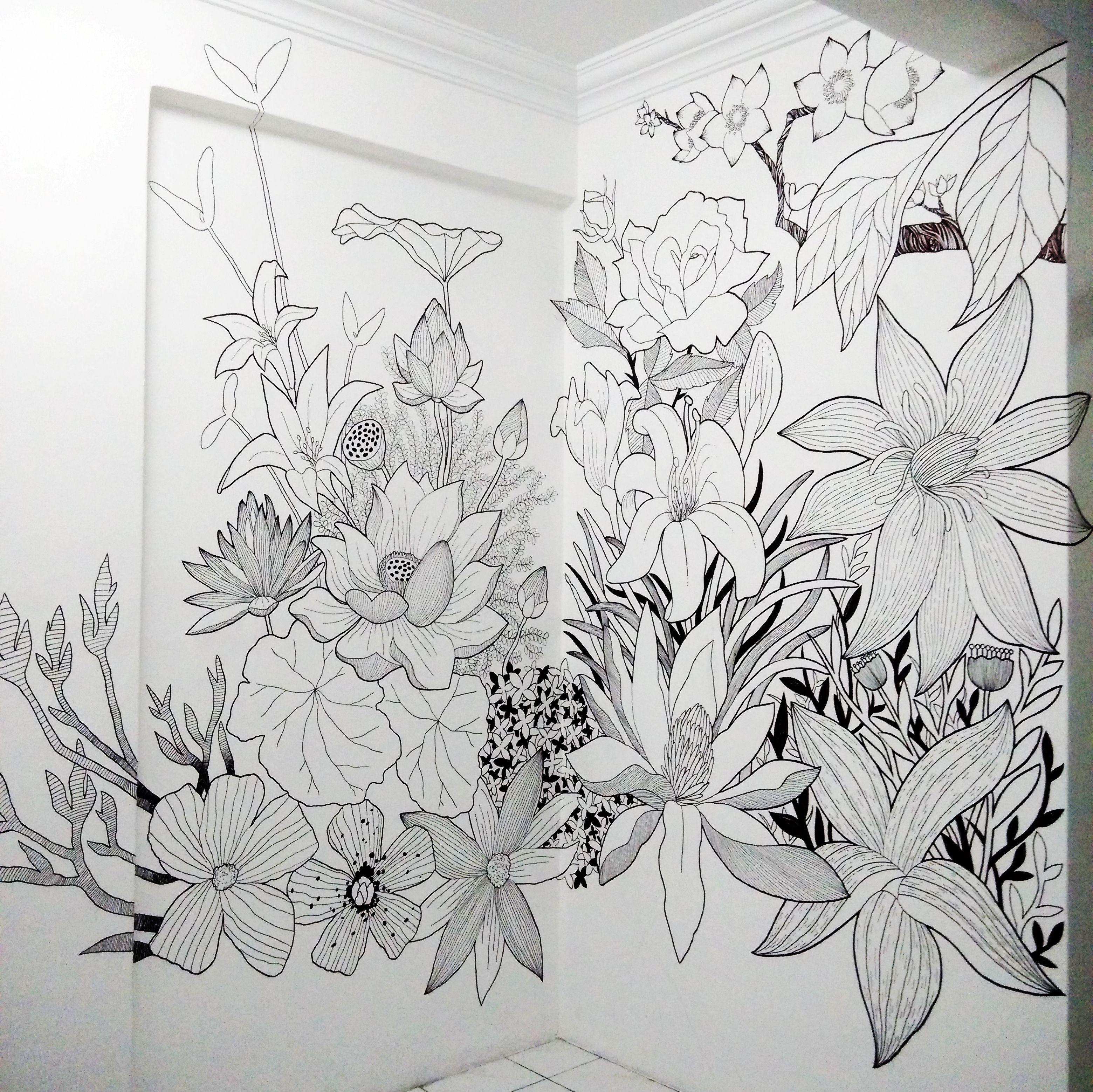 Sharpie Floral Mural Art Mural Art Pinterest