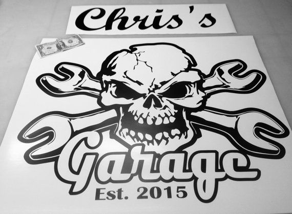 Skull and crossbone garage decal custom name established year vinyl wall decal sticker dads decor wrench mechanics tool box snap on
