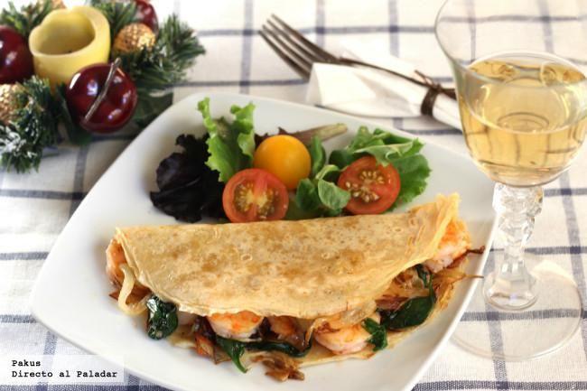 Crêpes con langostinos, espinacas y aceite de albahaca. Receta