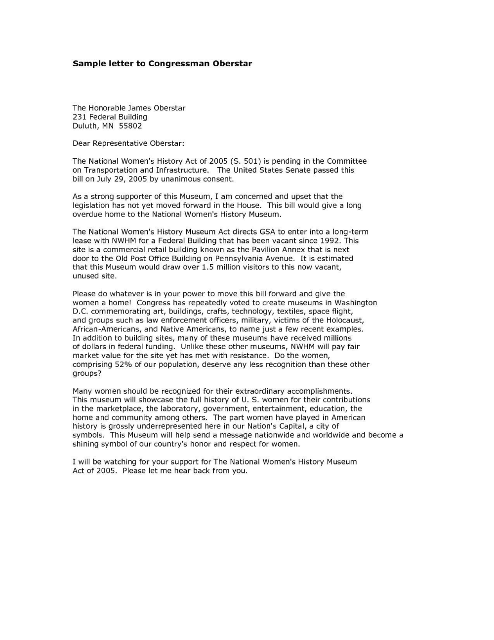 Formal Letter Format To Congressman Examples And Forms For Letter