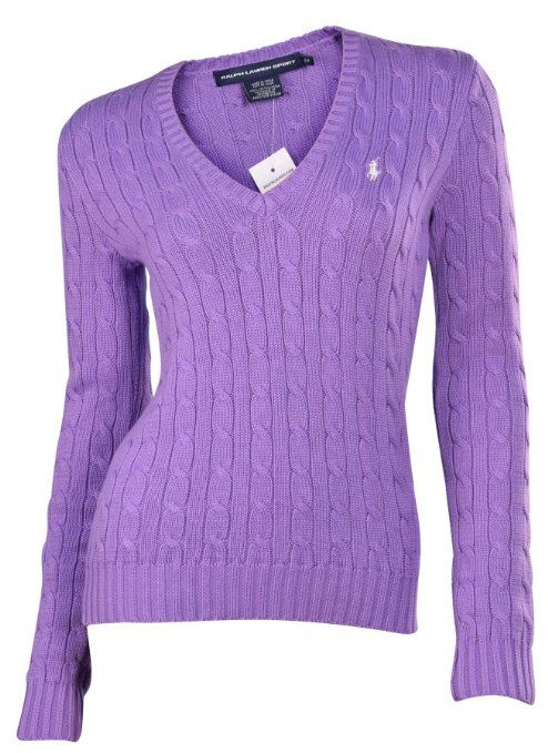 7bcbeff15f Polo Ralph Lauren Women s V-Neck Cable Knit Sweater-Hampton Purple at  Amazon Women s Clothing store