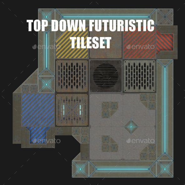 Metal Arena Futuristic Top Down Tileset Tilesets Game Assets