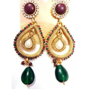 Polki Earrings with Colored crystal