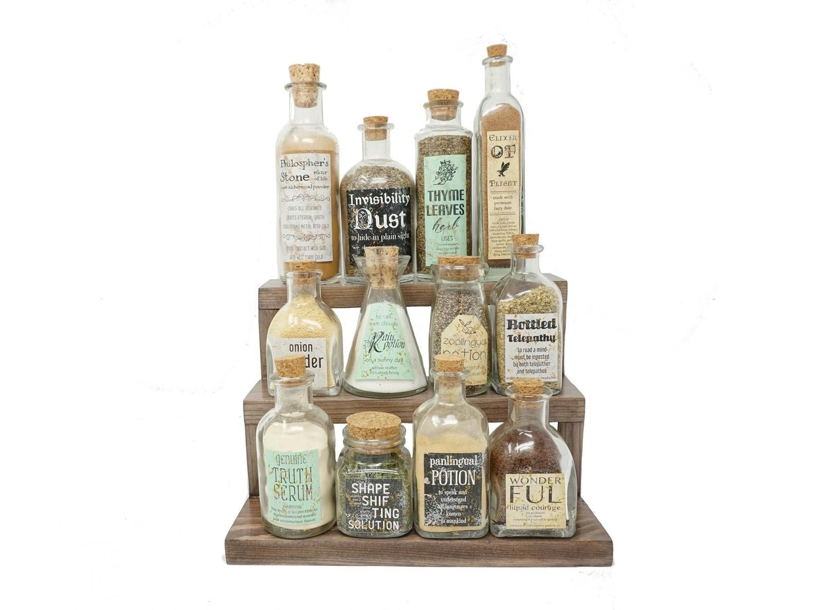 Magic Potions Bottle Spice Rack Fantasy And Apothecary Decor