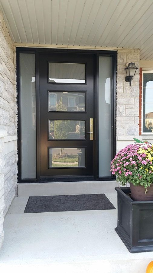 Modern Exterior Door with Multi Point Locks-4 Door lites and 2 Side Lites installed in Toronto By Modern Doors & Modern Exterior Door with Multi Point Locks-4 Door lites and 2 Side ...