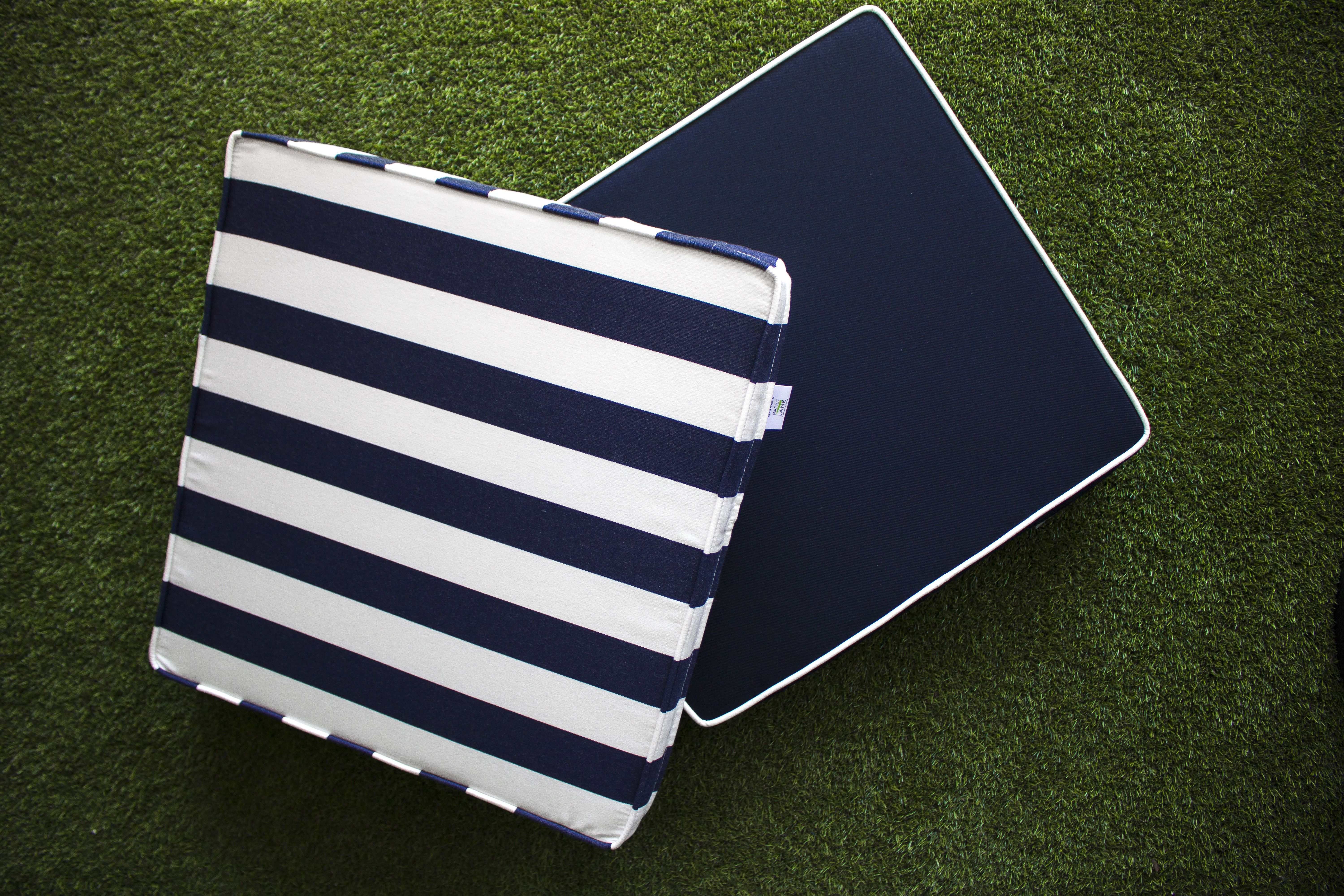 Custom Blue And White Chair Cushions Made With Sunbrella Fabric Mix