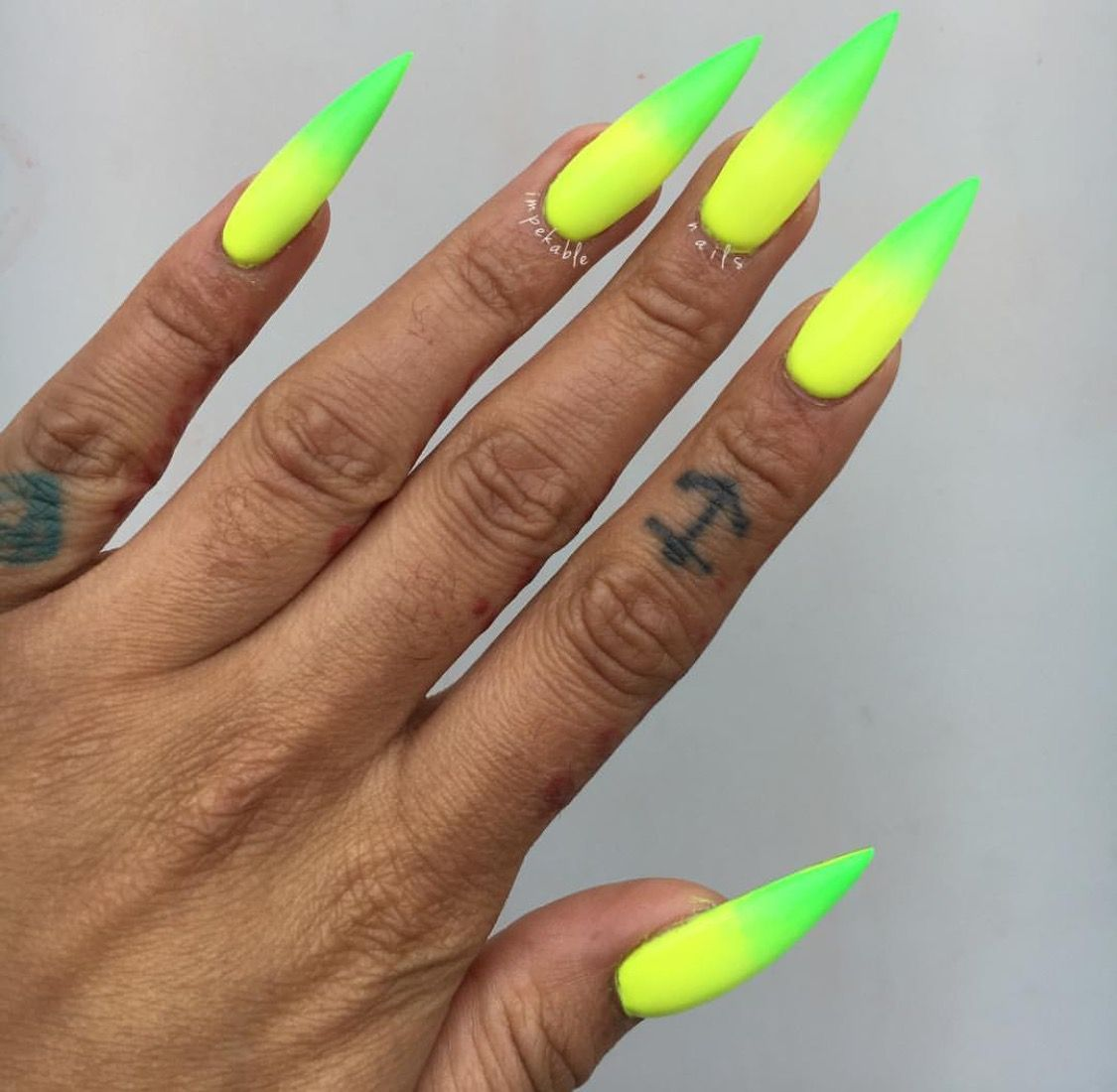 Neon Ombre Stiletto Nails With Images Neon Acrylic Nails Neon
