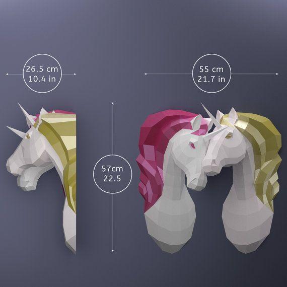 Pareja de unicornios unicornios de papel DIY plantillas por OXYGAMI