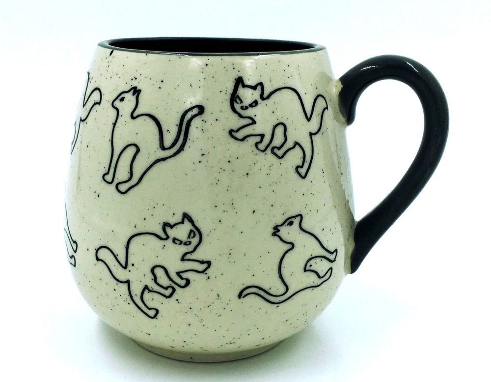 8f009cfe057 New Cat Mug 18oz Meritage Gray Trim Cat Inside Bottom Speckled Coffee Cup  #Meritage