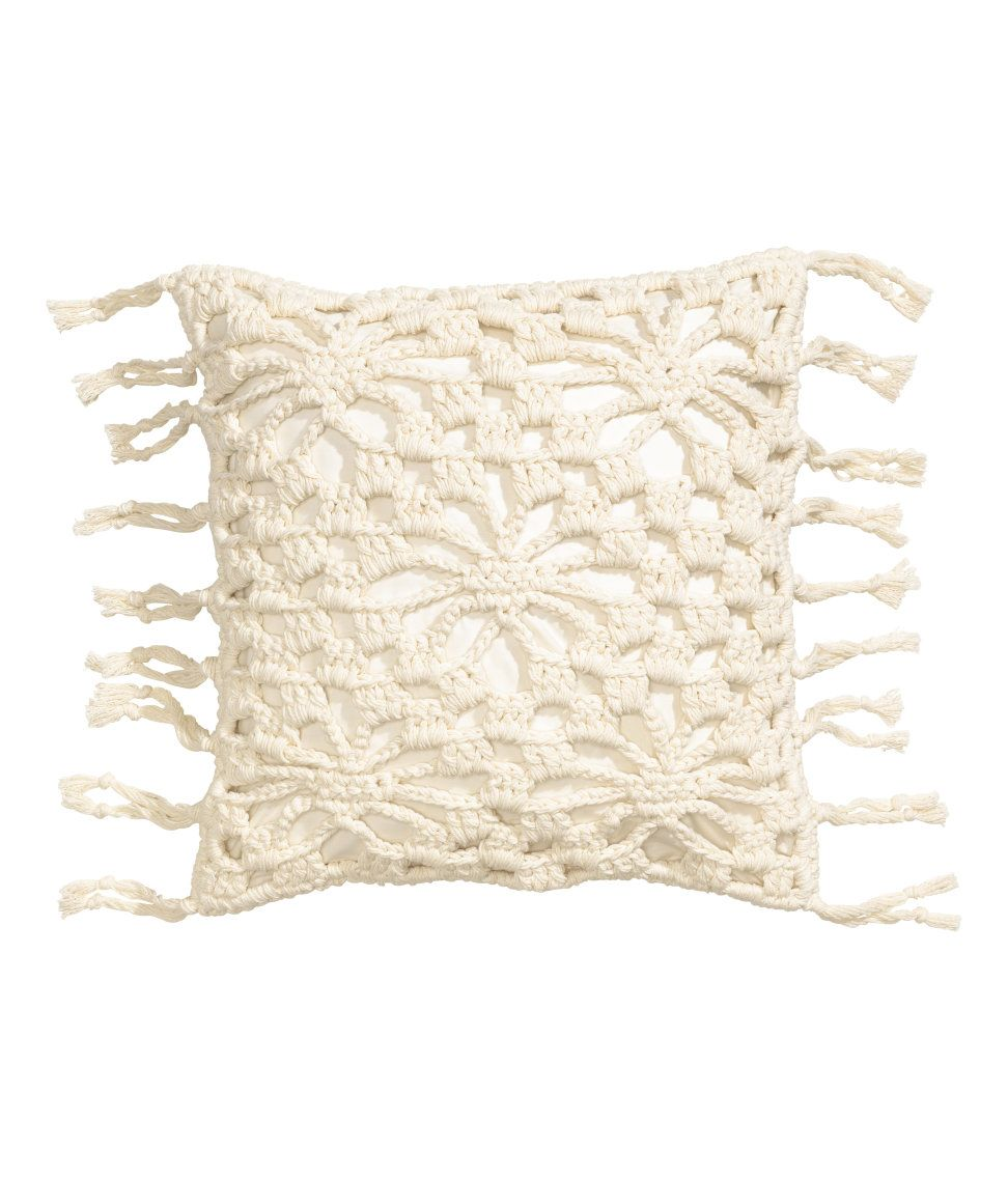 Check this out cushion cover in woven cotton fabric crocheted