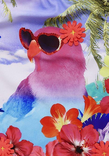 Tesco Direct F F Tropical Bird And 3d Flowers Swimsuit 3d