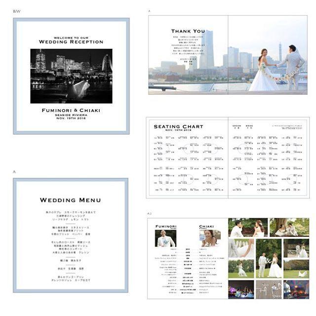 プロフィールブックの中身 P1 表紙 P2 3 ご挨拶 P4 5 席次表 P6 プロフィール紹介 P7 前撮りページ P8 メニュー フォント Copperplate Gothic 前撮りの写真をふんだんに使わせていただきました 枠のブルーは招待 プロフィール ブック 結婚式