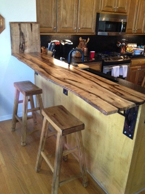 Hardwood Slabs Finished Highly Spalted 1 Thick Sanded And Clear Coated Great For Bars Shelves Desktops Etc Bar Countertops Breakfast Bar Kitchen