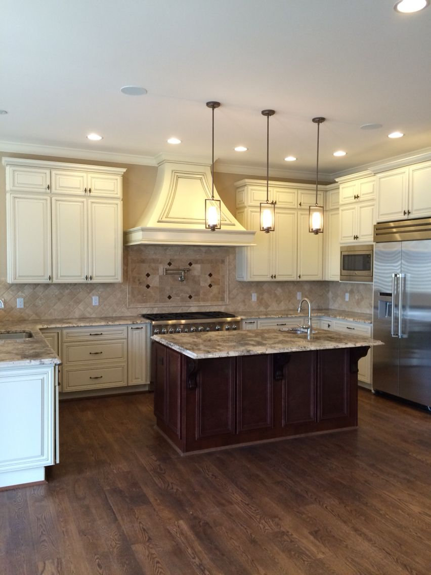 Bianco antico granite white cabinets for Cherry and white kitchen cabinets