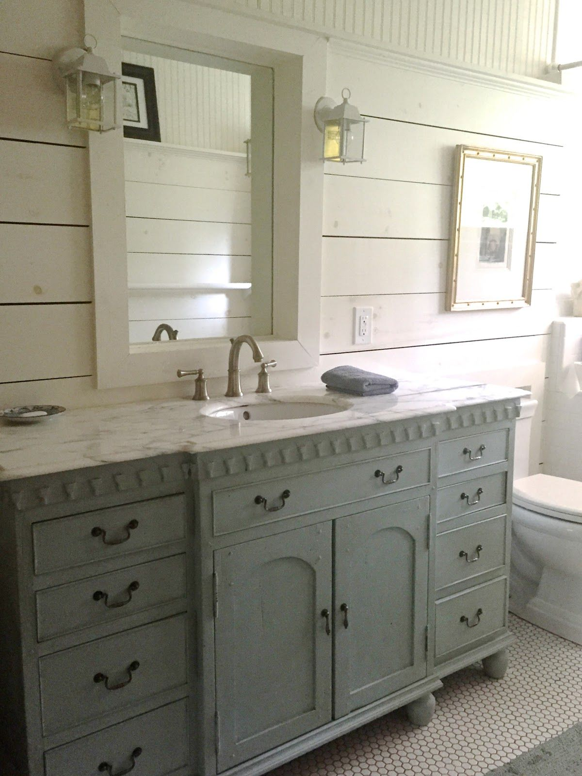 Cute Bathroom Vanities Vancouver Bc. magicalhome  Two favorites in this bathroom an old dresser turned into a vanity and shiplap I love that pebble floor want to try do it