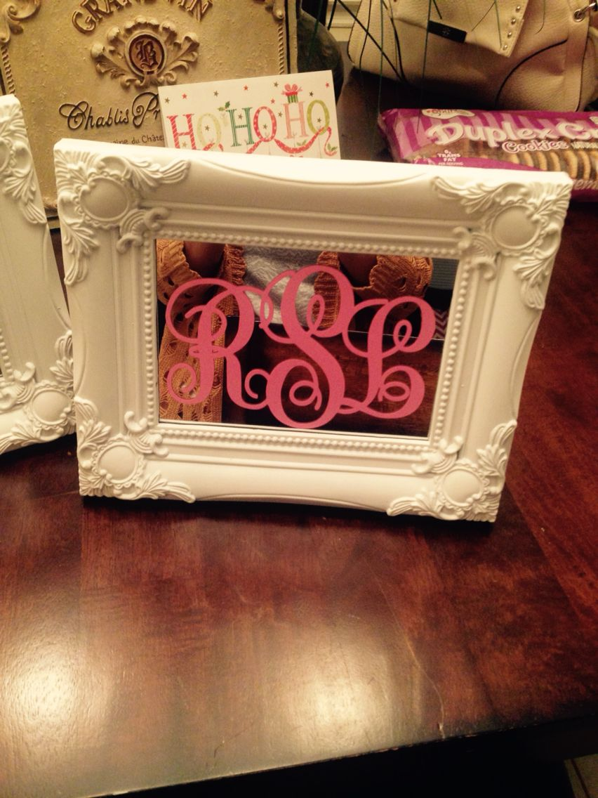 Cheap mirror from the dollar store with monogram ;)