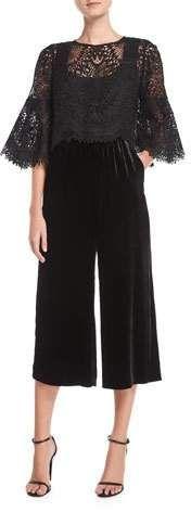 0fd5fbcef49 Kobi Halperin Trisha Lace   Velvet Wide-Leg Jumpsuit