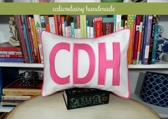 Items similar to FILL'ER UP Large Applique Monogram Pillow Cover - 12 x 16 on Etsy