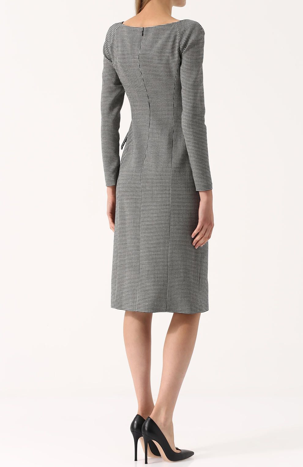 04acf28a7ed8587 Женское черно-белое приталенное шерстяное платье с v-образным вырезом Ralph  Lauren, сезон