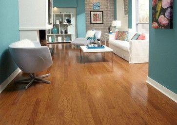Honey Oak Floors With Vibrant Walls