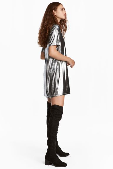 Coated T-shirt dress - Silver-coloured - Ladies  70e169bb8