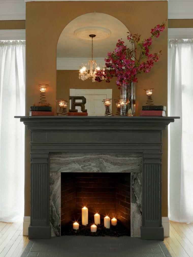 chimenea con velas Interiores con chimeneas Pinterest