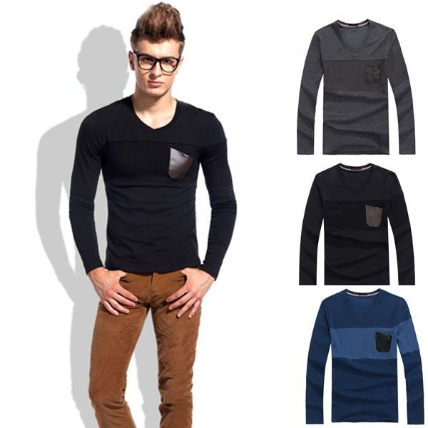 Fashion Men's Leisure PU Leather Pocket Slim Long Sleeve T-shirt via martEnvy. Click on the image to see more!
