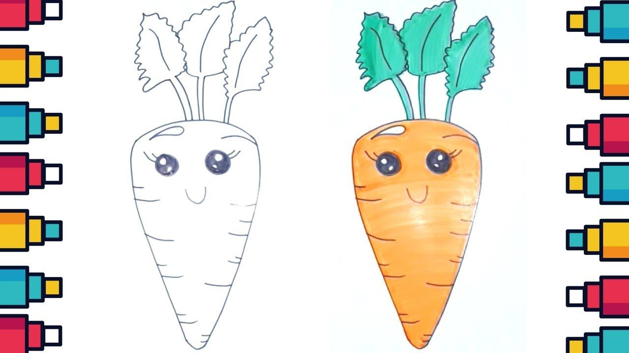 How To Draw Cartoon Carrot With Face For Kids Carrot Drawing Kids