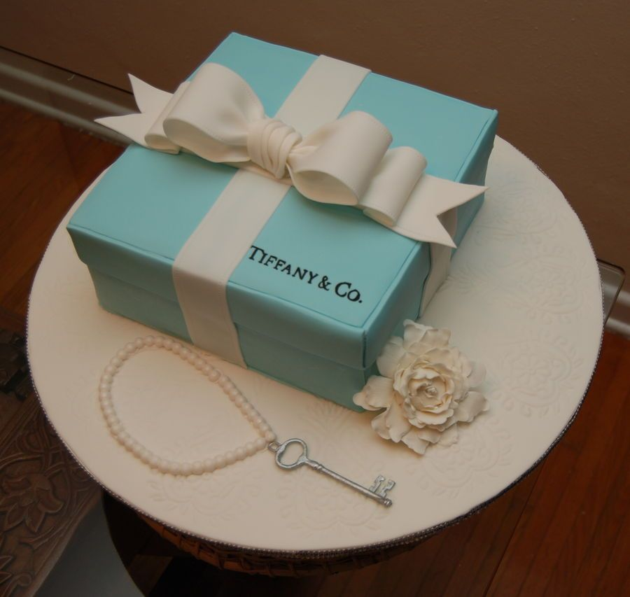 Superb Tiffany Box Birthday Cake Tiffany Cakes Gift Box Cakes Gift Cake Funny Birthday Cards Online Benoljebrpdamsfinfo