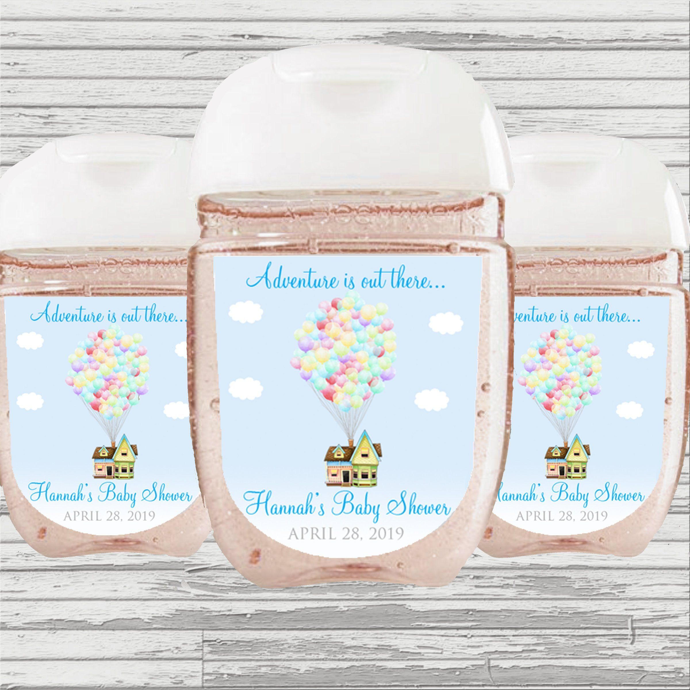 Up Theme Baby Shower Favor Hand Sanitizer Label Digital File