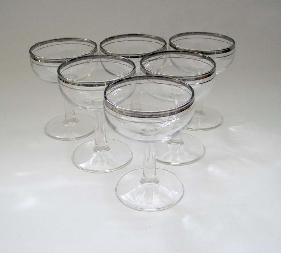 Vintage Wine Glasses Silver Rimmed Sherry by SharetheLoveVintage, $36.00