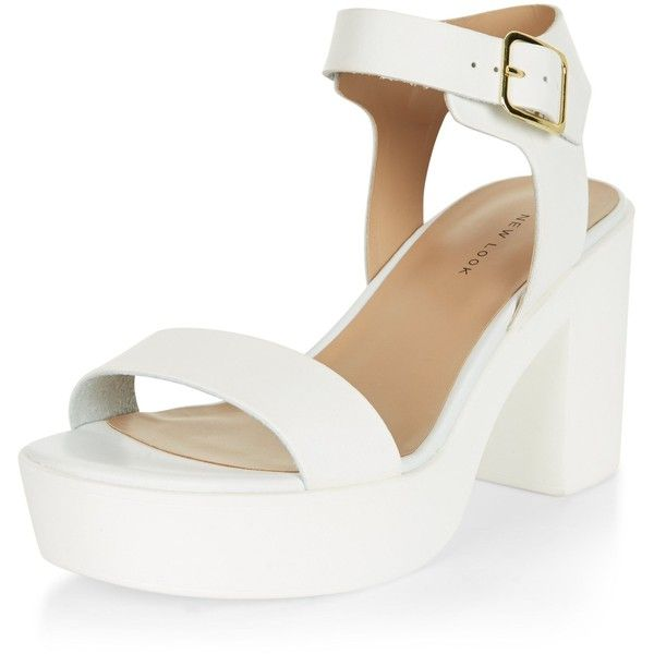 New Look White Ankle Strap Chunky Block