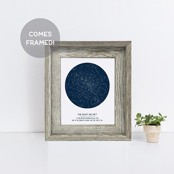 Custom framed star map distressed grey wood frame engagement gift custom framed star map distressed grey wood frame engagement gift new baby gift wedding gift night sky print constellation art negle Image collections