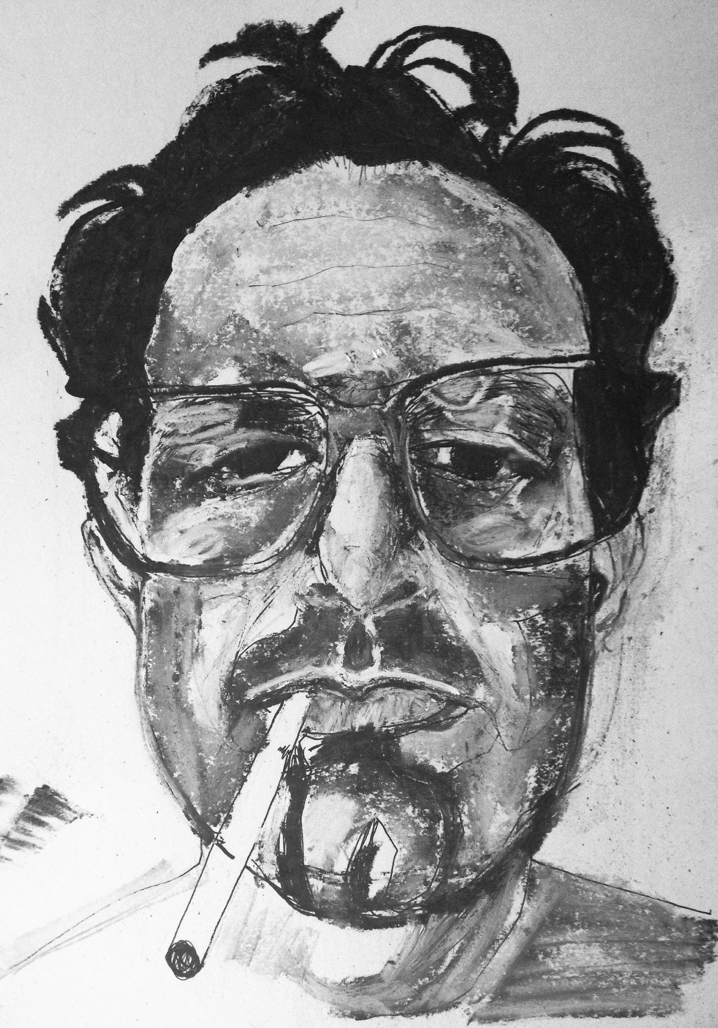 ink, chalk and charcoal on paper. a portrait of Richard Shulman ...