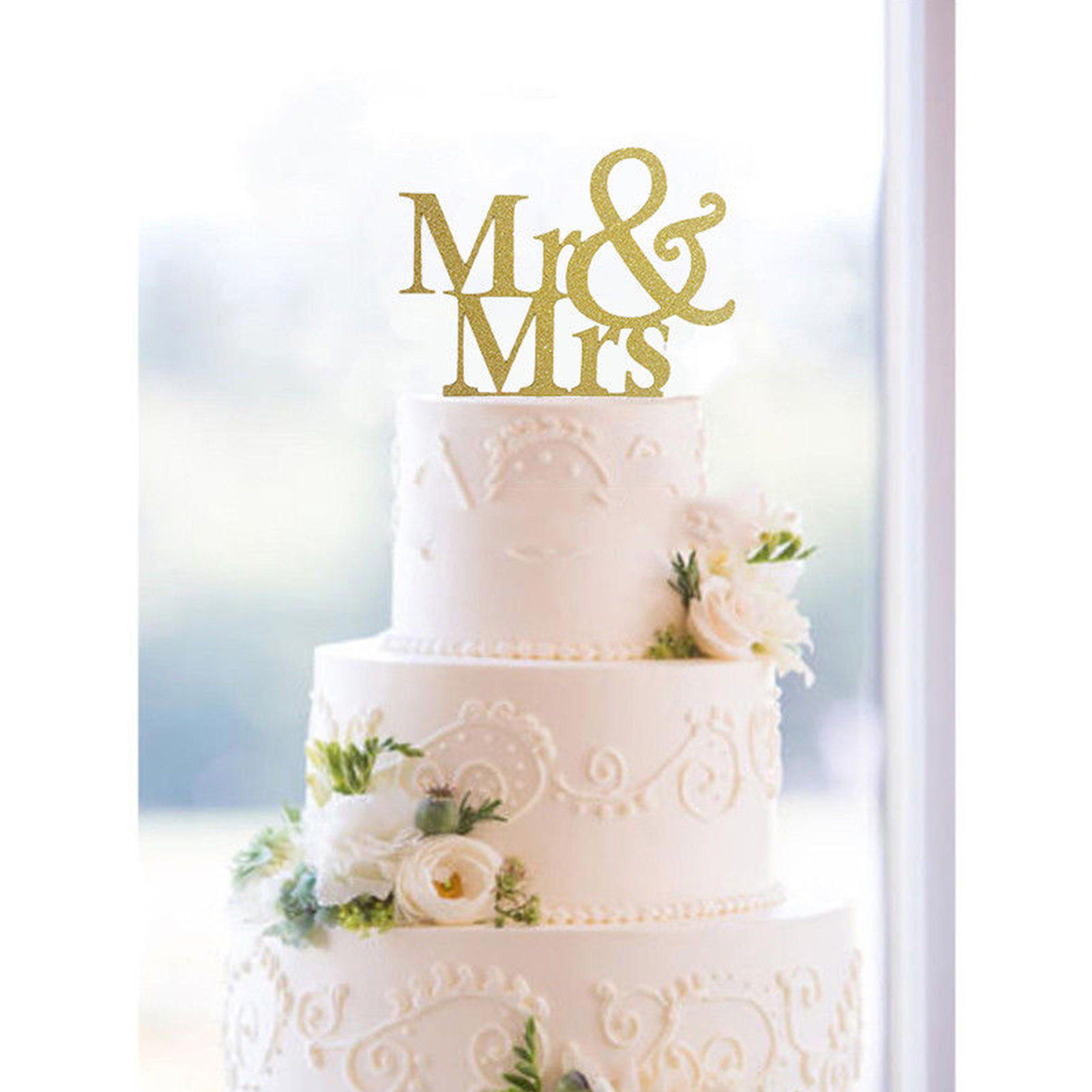 0.99 GBP - Mr And Mrs Gold Glitter Acrylic Cake Topper Bride And ...